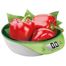 Весы кухонные Centek CT-2454 (бел/салат) электр.-чаша, max 5кг, шаг 1г, круглая форма, подсветка LCD