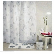 """Штора текстильная/ванны и душа """"Спирали"""" DSCN3132, 180х200см, цв. белый/серый"""