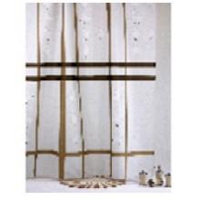"""Штора текстильная/ванны и душа """"Япония"""" DSCN2899, 180х200см, цв. белый/коричневый"""