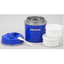 Термос РОСИНКА РОС-205 обеденный, синий,1,5 литра, 2 пищевых контейнера