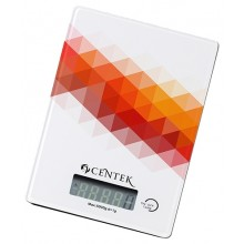 Весы кухонные Centek CT-2457 стеклянные, электронные, max 5кг, шаг 1г, шелкография, LCD