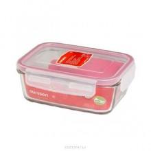 Стеклянный контейнер Oursson CG-0800S/TR прозрачный , с красной окантовкой_прямоугольный