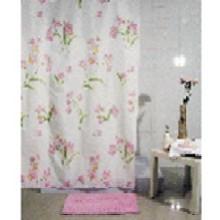 """Штора текстильная/ванны и душа """"Розовые цветы"""" DSCN3434, 180х200см., цв. розовый/бежевый"""