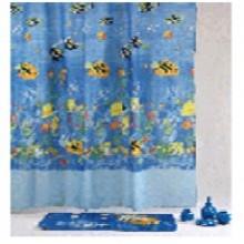 """Штора текстильная/ванны и душа """"Разноцветные рыбки"""" DSCN3582, 180х200см., цв. синий"""