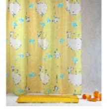 """Штора текстильная/ванны и душа """"Весёлые киты"""" DSCN3729, 180х200см, цв. жёлтый"""