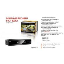 Ресивер эфирный цифровой DVB-T2 HD HD-600RU металл, дисплей, Эфир
