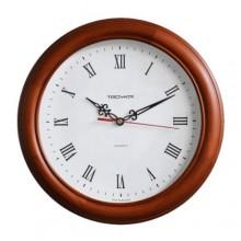 Часы настенные TROYKA 11162115 (дерево, круг, темная вишня, белый циферблат, римские цифры)