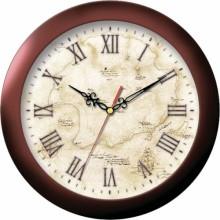 Часы настенные TROYKA 11131150 (пластик корич.кольцо старая карта)