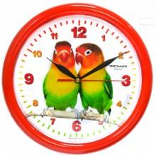Часы настенные TROYKA 21230227 (Два попугая, круг, пластик)