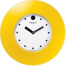Часы настенные TROYKA 55555556 (белый циферблат, жёлтое широкое кольцо, круг, пластик)