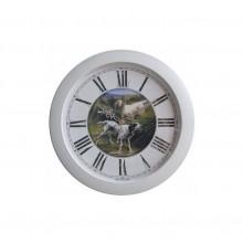 Часы настенные TROYKA 11172106 (Охота с гончими,фон под старину,белое кольцо)