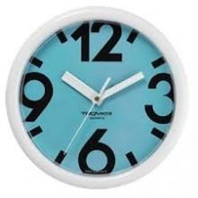 Часы настенные TROYKA 21210214 (Бирюзовый фон, белое кольцо, большие цифры, круг, пластик)